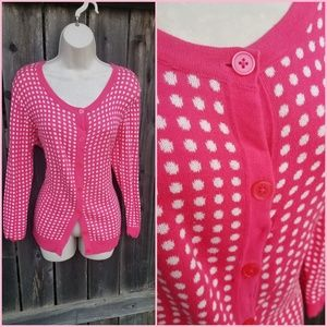 Fuchsia & White Polkadot Long Pinup Girl Cardigan